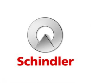 Schindler logo, office and screen with full spacer